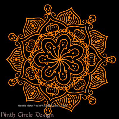 [Image description: black background, a mandala in orange outlines with 7-fold symmetry, including ghosts, pumpkins, & skulls.]